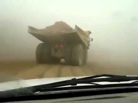 Drifting In A Haul Truck! Operator Looses Control In Wet Weather