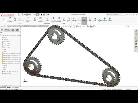 Solidworks tutorial | sketch Chain and Sprocket mechanism in