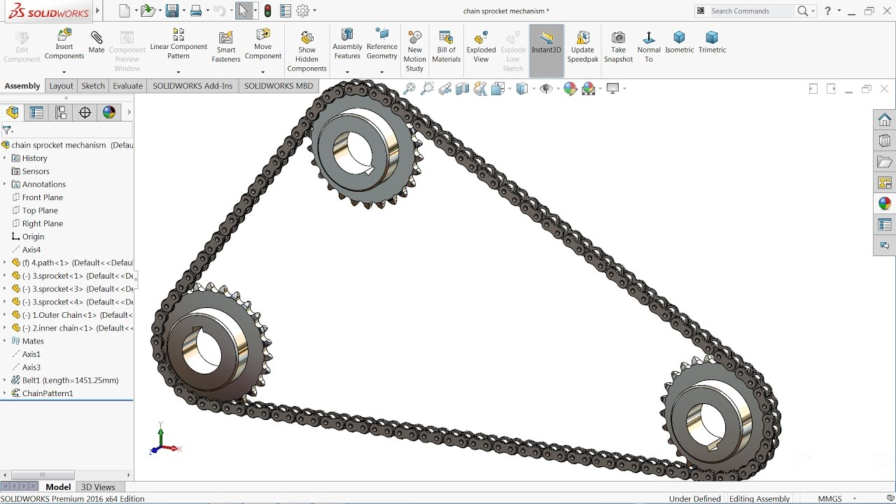 Solidworks Tutorial Sketch Chain And Sprocket Mechanism In Solidworks Youtube