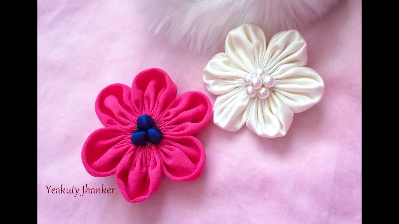 Diy Six Petal Kanzashi Fabric Flower Hair Clip Youtube
