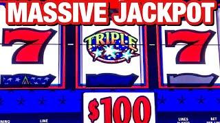 MASSIVE JACKPOT TRIPLE STARS SLOT/ $100 BETS / BIG WIN