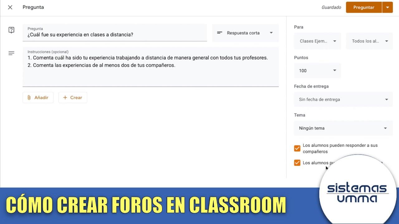 Cómo Crear Un Foro En Google Classroom Youtube