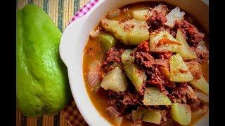 SAYOTE at corned beef Guisado Recipe