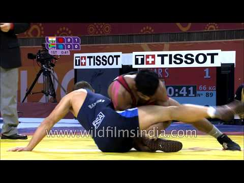 Sushil Kumar wrestles for gold at Commonwealth Games 2010