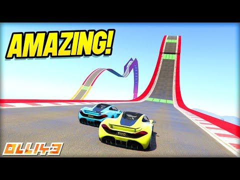 GTA 5 - INCREDIBLE RACE TRACK! (reverse turtle stunt jumps)