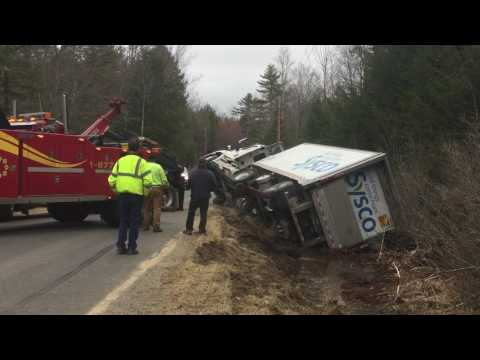 All Directions Transport pulls truck from ditch in Morrill 4/19/17