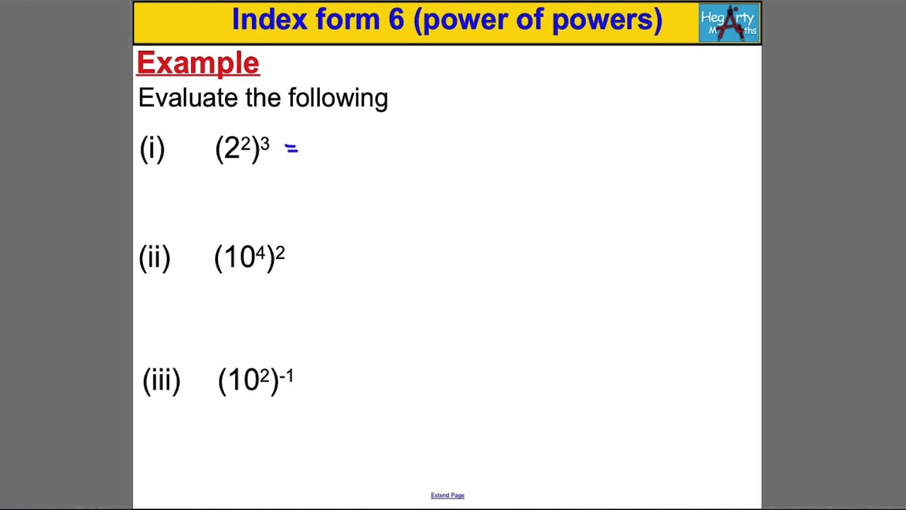 Index form 6 (power of power rule) - YouTube