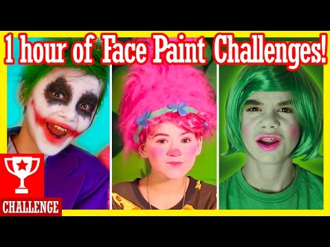 1 HOUR of FACE PAINT CHALLENGES!  Inside Out, Spiderman, Trolls, Angry Birds, & more! |  KITTIESMAMA