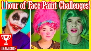 1 HOUR of FACE PAINT CHALLENGES!  Inside Out, Spiderman, Trolls, Angry Birds, & more!    KITTIESMAMA