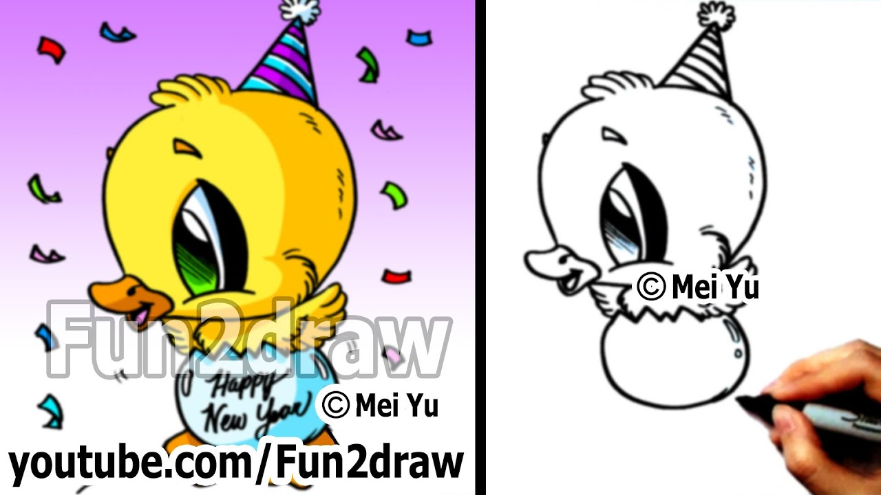 Drawing Lesson How to Draw a Duck Happy New Year Fun
