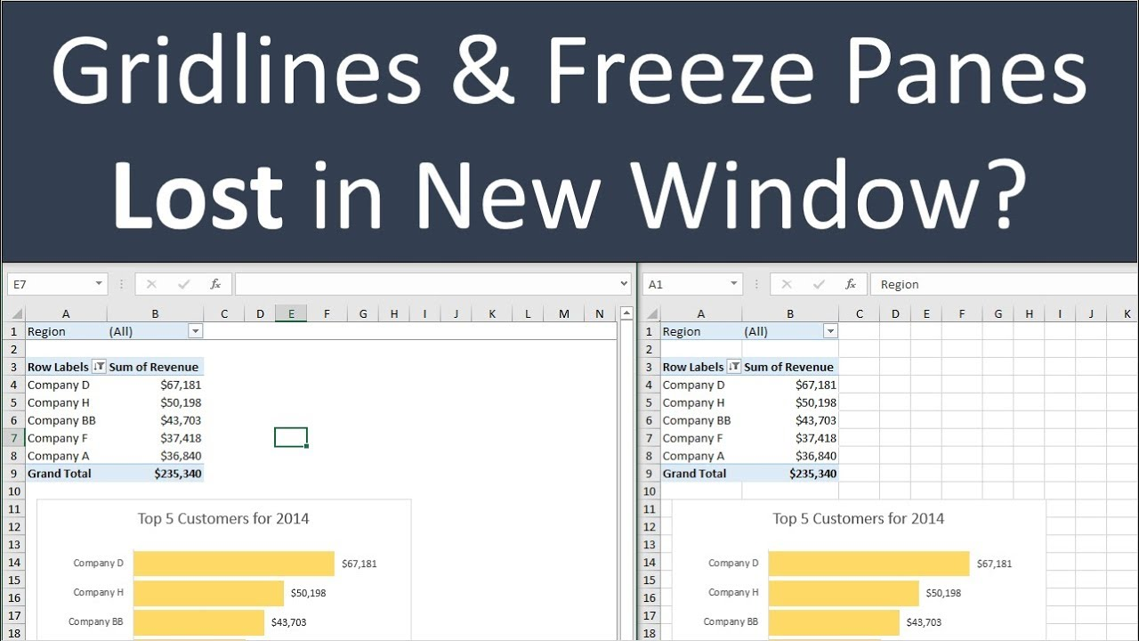 Gridlines & Freeze Panes Settings Lost in New Window - How ...