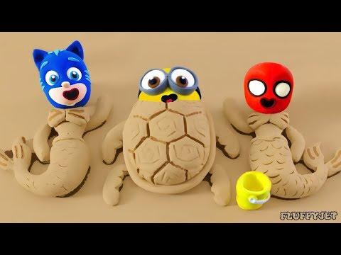 Superhero Baby Spiderman & superhero babies sand playtime Play Doh Cartoons Stop Motion Animations