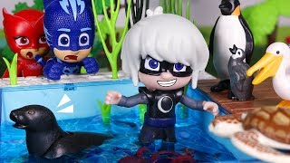 PJ Masks Toys ⚡ Where are the animals? 🐙🦈