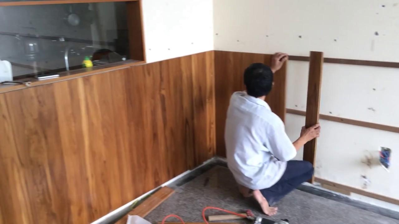 Ri tường bằng sàn gỗ Teak Lào #1