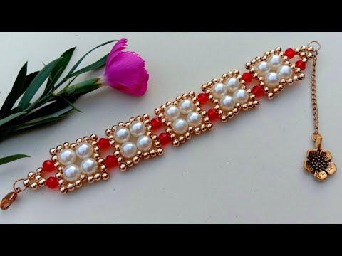 bracelet-making-how-to//pearl-wedding-bracelet//-useful-&-easy