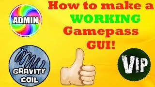 How to make a working gamepass GUI in roblox studio 2018