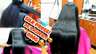 Silk Press on 30 inches, Her hair is so long!