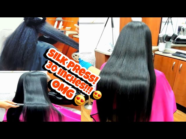 DETAILED SILK PRESS on LONG HAIR 30 INCHES!!
