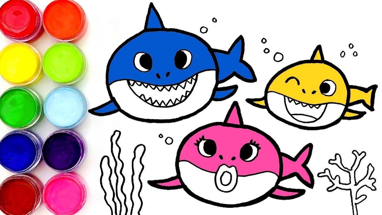핑크퐁 아기상어 상어가족 그리기 색칠놀이 Baby Shark Family Menggambar dan ...