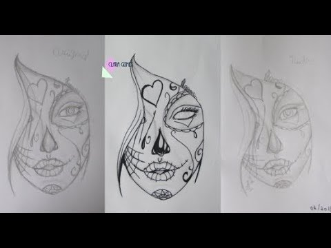 Desenhando Garota Tumblr Com Maquiagem Mexicana Catrina Estilo