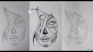 Desenhando garota Tumblr com maquiagem Mexicana   estilo TATTOO   ESPECIAL DE CARNAVAL ~atrasado~