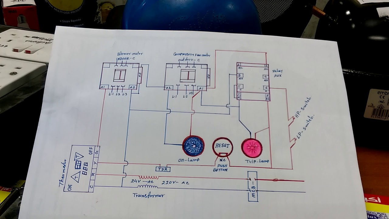 hvac system interlock wiring diagram in hindi