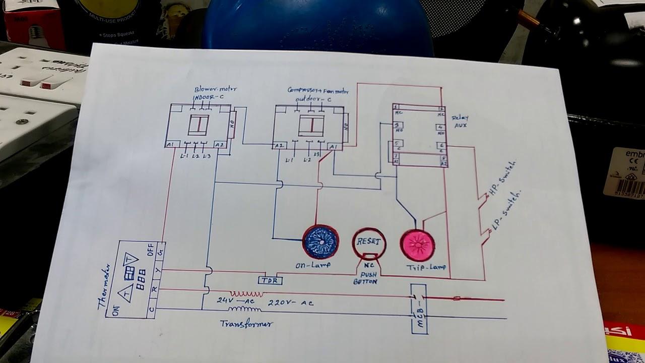 hvac system interlock wiring diagram in hindi [ 1280 x 720 Pixel ]