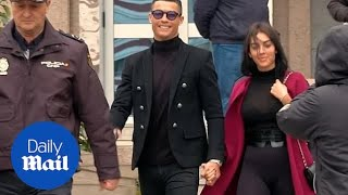Ronaldo and girlfriend Georgina arrive at court to face fine