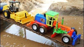 รถก่อสร้างทำถนนข้ามแม่น้ำ | รถดั้ม รถแม็คโคร รถบดถนน รถเกรด