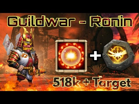 Guildwar - Ronin Bomb | Scorch + Survival Insignia | Vs 518k+ Might Target | Castle Clash