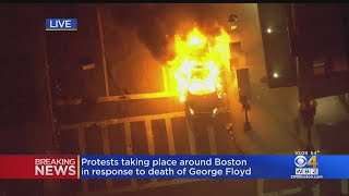 Boston Police Cruiser Set On Fire Following Protests In City