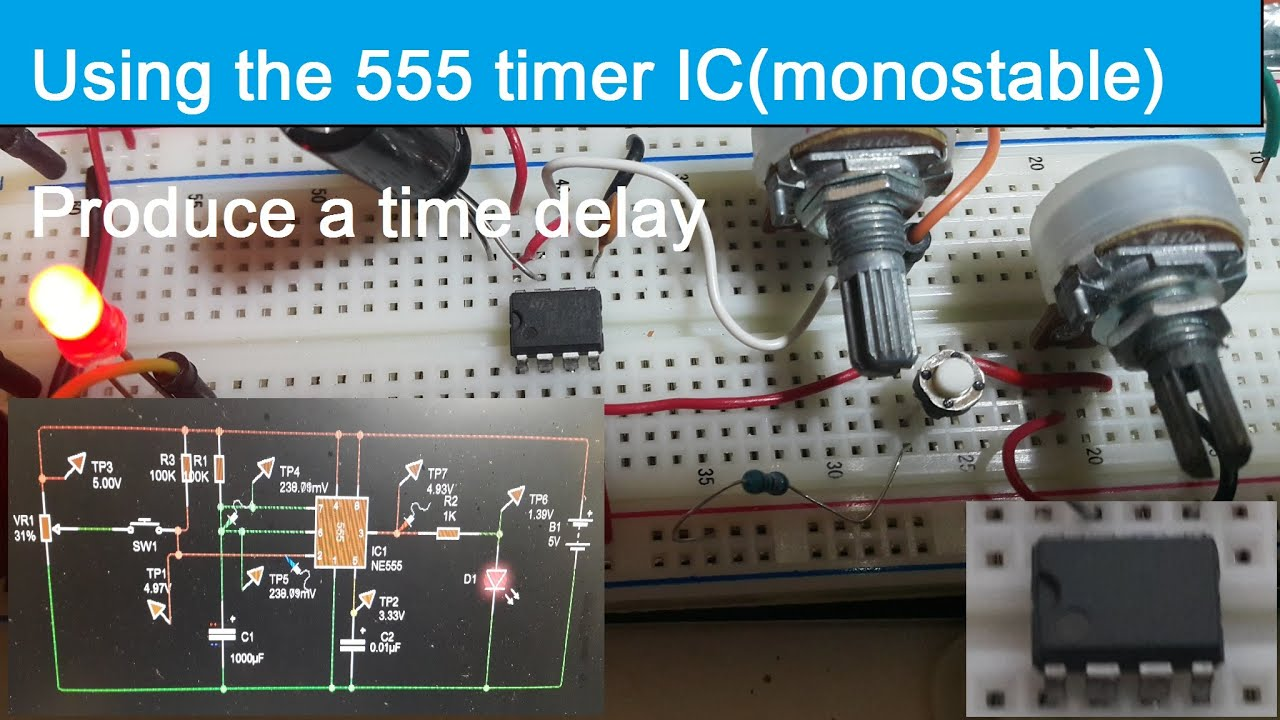 Using The 555 Timer Icmonostableproduce A Time Delaysingle Touch Switch Monostable With Ic Pulses Or Long Delays