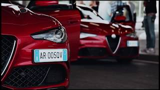 Alfa Romeo Giulia and the Ferrari Team's three champion drivers