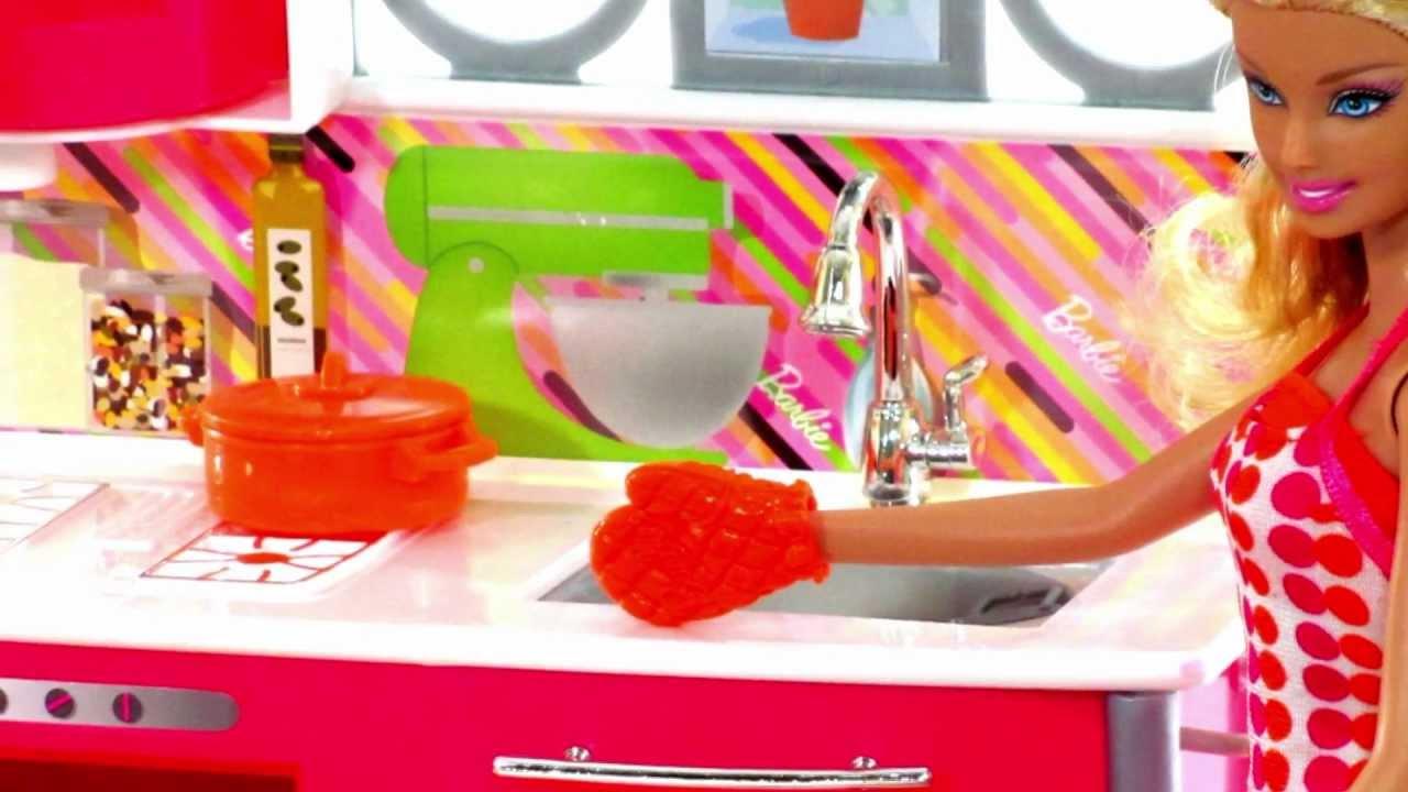 Barbie Dollhouse Toys Kitchen Set Toy Video Review Youtube