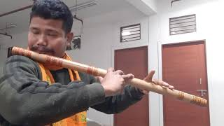"Assamese songs  din jole rati jole  ""E"" Bass flute  simple style"