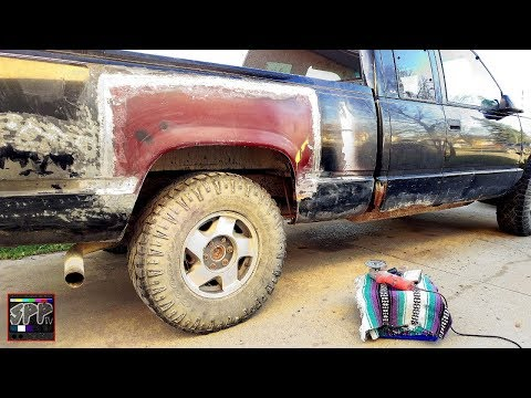 """Prepping For """"Paint""""! Sanding and Removing Glue Residue   1998 GMC Sierra Project"""