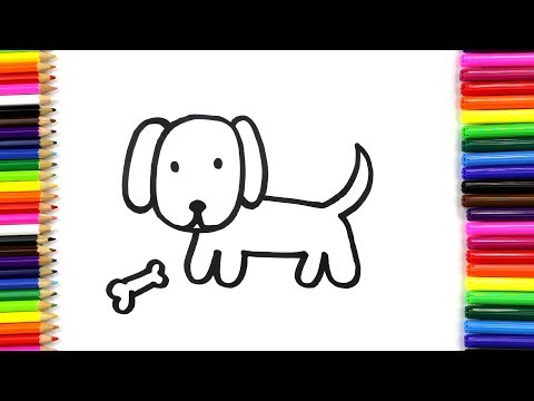 How to Draw and Color a Cute Dog for Kids   Draw Dog Cartoon   Art4Kids