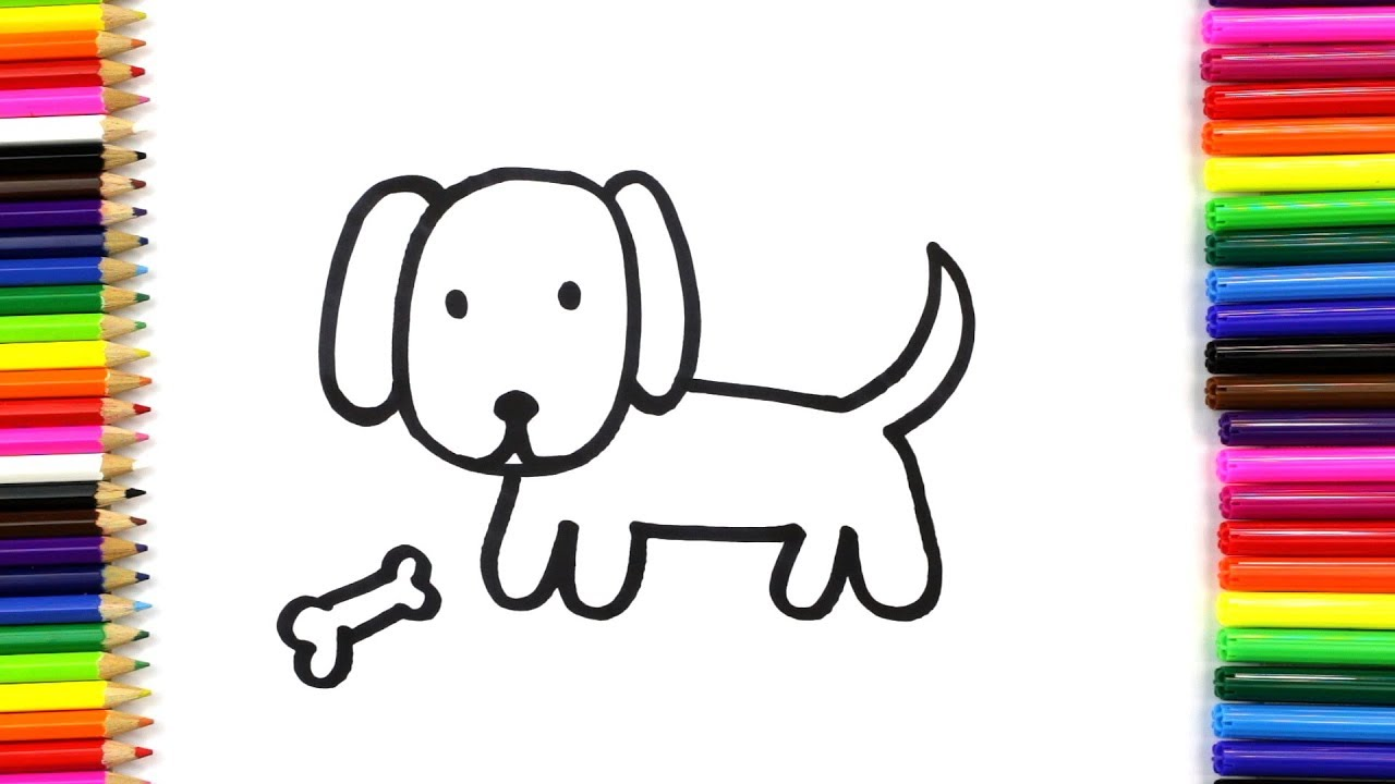How to Draw and Color a Cute Dog for Kids | Draw Dog ...