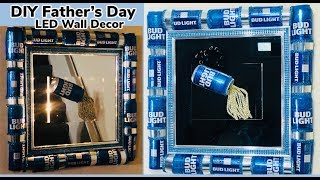 Diy Dollar Treewalmart Father's Day Man Cave Led Beer Cans Wall Mirror Decor 2019