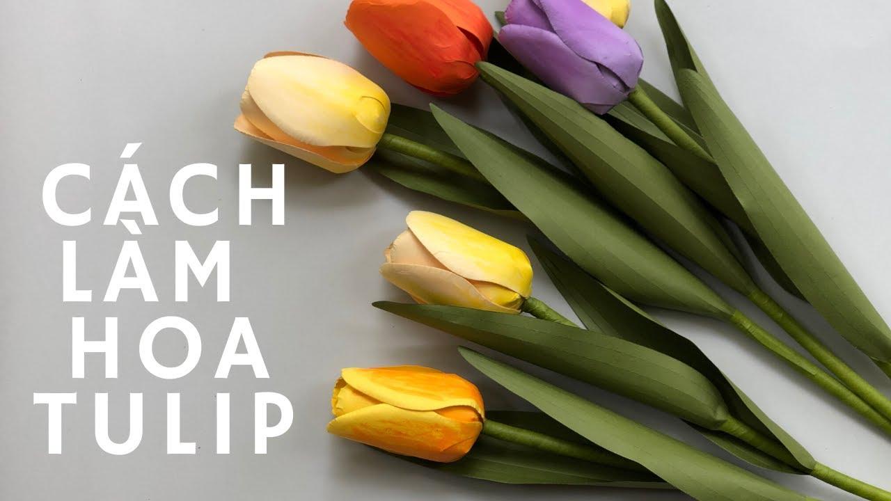 Cách làm hoa tulip bằng giấy | how to make tulip paper flower | DIY | 1991 handmade