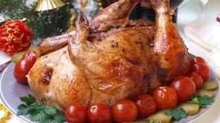 Курица фаршированная гречкой с грибами и луком
