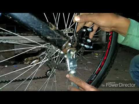 How to install rear disk brake in any byCycles step by step (Hindi)