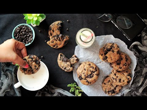 Eggless Chocolate Chip Cookies - Egg-less, Chewy & Crunchy | How To Make COOKIES At Home