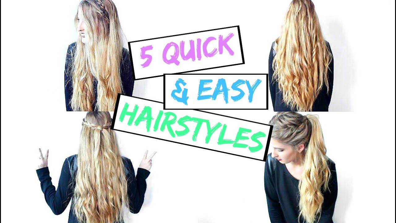 5 Quick & Easy Hairstyles | How To Curl Your Hair With A Straightener!