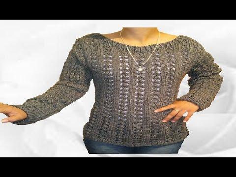 Chompa tejida para dama / Suéter / blusón tejido a palitos
