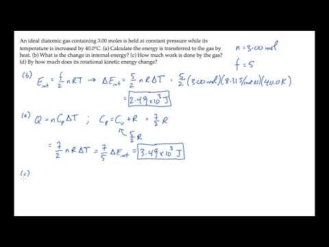 Kinetic Theory: Internal Energy and Molar Specific Heat. Level 2, Example 1