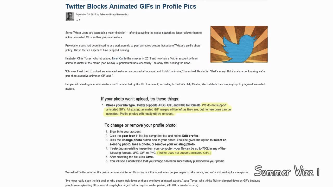 Twitter blocks animated gifs in profile pics youtube negle Gallery