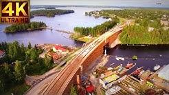 Laitaatsalmen silta ilmasta - Finland Savonlinna 4K  bird`s eye view