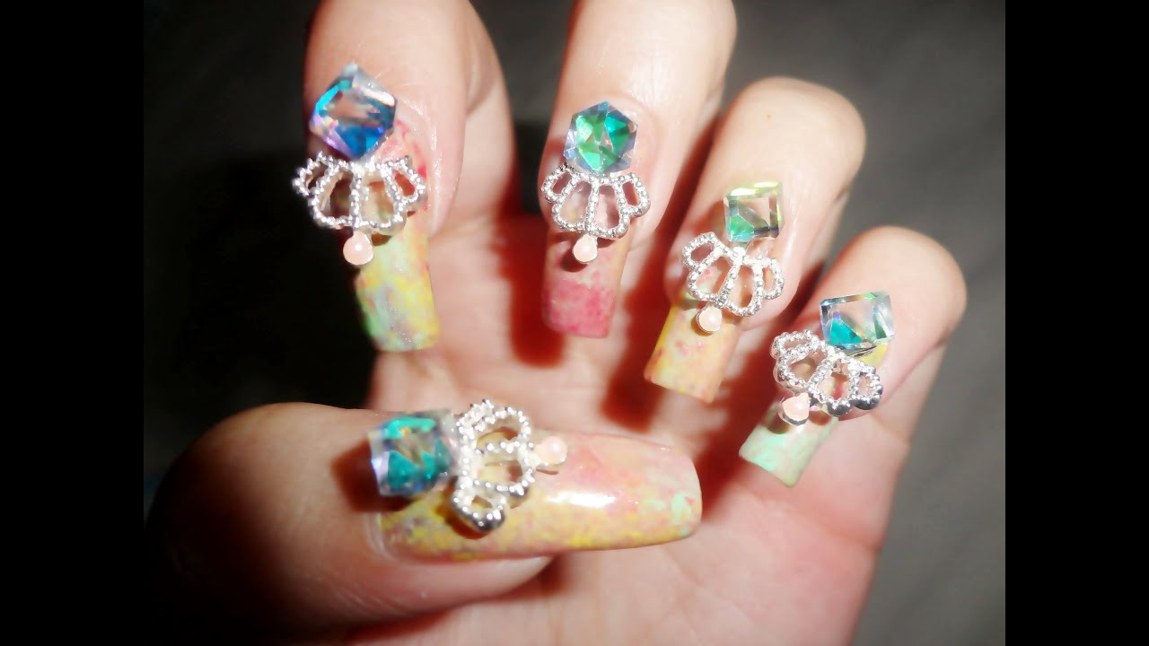 how to put 3d nail art on gel nails