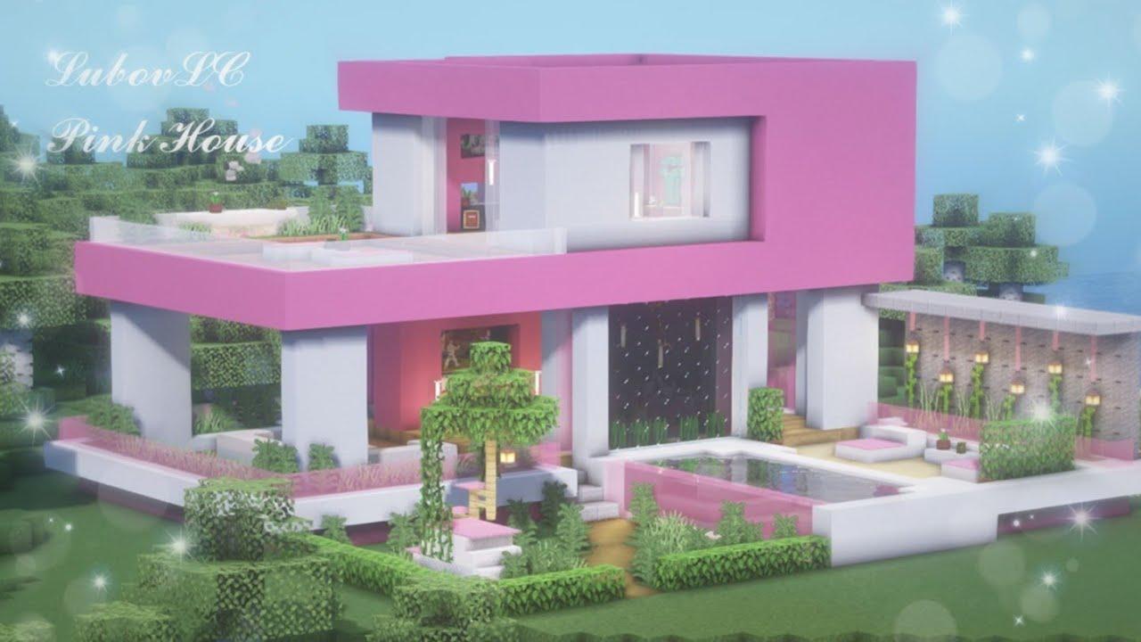 Minecraft Modern Pink House Map Download Cute Pink House Kawaii World Tutorial 1 Youtube